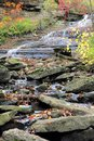 Small escarpment cascade rocks this cascading waterfall flows along the in autumn s beautifully coloured foliage the large at the Stock Image