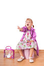 Small fashion girl sitting and shouting Royalty Free Stock Photo