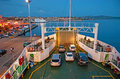 The small ferry la maddalena sardinia september passenger departures from city port to palau on september in la maddalena Stock Images