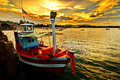 Small fisherman boats in the sea near hua hin port thailand Stock Image