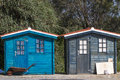 Small fisherman cabins view of two on the docks Royalty Free Stock Photos