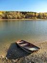 Small fishing boat at Liptovska Mara, Slovakia