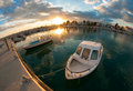 Small fishing boat at sunset cyprus Stock Images