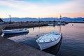 Small Fishing Boats at Dawn, Greece Royalty Free Stock Photo