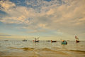 Small fishing boats in the sea near hua hin fisherman port thailand Royalty Free Stock Photography