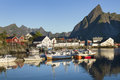 Small fishing port in the Hamnoy, Lofoten Islands, Norway Royalty Free Stock Photo