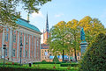 The small garden stockholm sweden october scenic of house of nobility with monument to gustaf eriksson vasa and tower of Stock Photography