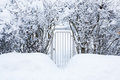 Small gate in hedgerow at winter to home yard Stock Images