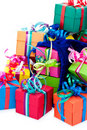 Small gift boxes and blue bag Royalty Free Stock Photography