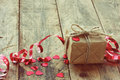 Small gift on old table Royalty Free Stock Photo