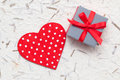 Small gift with woden red heart Royalty Free Stock Photo