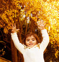 Small girl in autumn forest Royalty Free Stock Images
