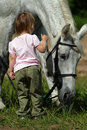 Small girl and big grey horse Royalty Free Stock Images
