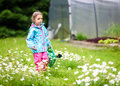 Small girl child is gardening and watering daisies in backyard.