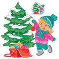 Small girl decorating the Christmas tree