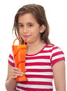 Small girl drinking soda from a funny vase Royalty Free Stock Photos