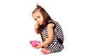 Small girl eat corn flakes Royalty Free Stock Photo
