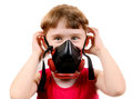 Small Girl in Gas Mask Royalty Free Stock Photo