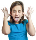 Small girl making a funny face isolated on white Stock Photography