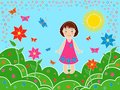 Small girl on the meadows in sunny summer day children multicolor hand drawing vector illustration Stock Photo