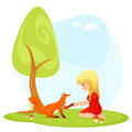 Small girl meeting a friendly fox Royalty Free Stock Photography