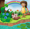 A small girl at the riverbank with mushrooms illustration of Stock Image