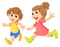 A small girl and a small boy playing illustration of on white background Stock Images