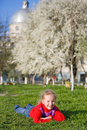 Small girl in spring park Royalty Free Stock Photography