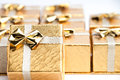 Small Gold Christmas Presents Royalty Free Stock Photos