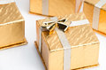 Small Gold Christmas Presents Stock Images