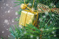 Small gold gift box on christmas tree with snow falling Royalty Free Stock Photo