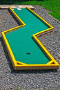 Small golf course built for children in a recreational space Royalty Free Stock Images