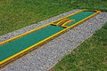 Small golf course built for children in a recreational space Royalty Free Stock Photo