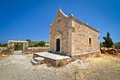 Small Greek church at Moni Toplou monastery Stock Photos