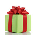 Small green gift box with red ribbon bow isolated on white Royalty Free Stock Photo