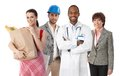 Small group of diverse people happy with ethnics and occupations white background Stock Images