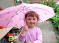Small happy girl with umbrella Royalty Free Stock Photo