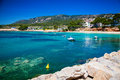 Small harbor with boats in portals nous mallorca spain Royalty Free Stock Photo