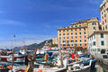 Small harbor in Camogli, Italy Royalty Free Stock Images