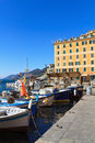 Small harbor fishing boats camogli liguria italy Stock Images