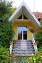 Small home it is and nice with garden and flowers Royalty Free Stock Images