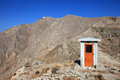 Small house at ancient thira a located santorini island greece Royalty Free Stock Photo