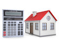 Small house and calculator isolated render on a white background Royalty Free Stock Photo