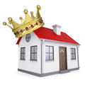 A small house with a crown isolated render on white background Royalty Free Stock Photography