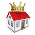 A small house with a crown isolated render on white background Stock Photos