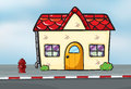 A small house near the street illustration of Royalty Free Stock Images