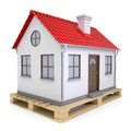Small house on pallet isolated render a white background Royalty Free Stock Image
