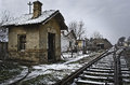 Small house of a railway swithcher man long time ago people manually changing direction trains with manual switcher that is Stock Image