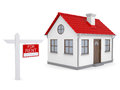 Small house and sign a lease isolated render on white background Stock Images