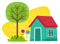 Small House With Tree Royalty Free Stock Photo
